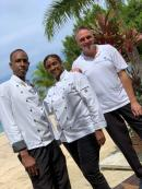 Couples executive chefs Andre (left) and Simone Campbell, and Stefan Spath (right), corporate executive chef.
