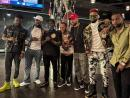 From left: Kemar Highcon, Kranium, Barrington Levy, Dexta Daps, Cham, Konshens and Teejay Uptop Boss at the Barclays Centre in New York on Saturday.